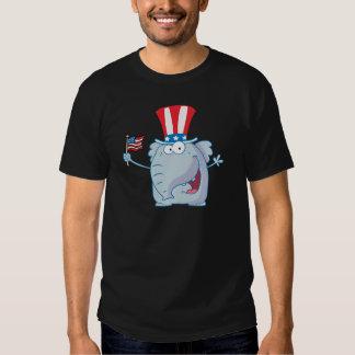 Patriotic Elephant Waving An American Flag T Shirt