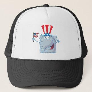 Patriotic Elephant Waving An American Flag Trucker Hat