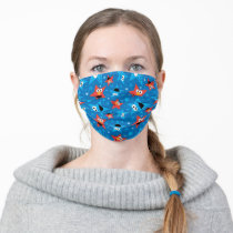 Patriotic Elmo and Cookie Monster Pattern Adult Cloth Face Mask