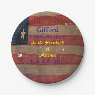 Patriotic Family Reunion USA Flag Paper Plate