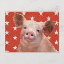 Patriotic Farm - Pig Postcard