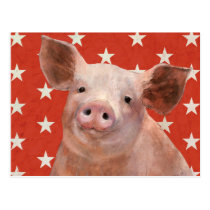 Patriotic Farm - Pig Postcard