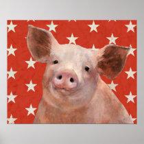 Patriotic Farm - Pig Poster