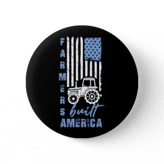 Patriotic Farmers Built America Flag USA Tractor Button
