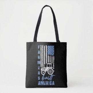 Patriotic Farmers Built America Flag USA Tractor Tote Bag