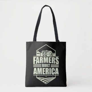 Patriotic Farmers Built America Life Tractor Tote Bag