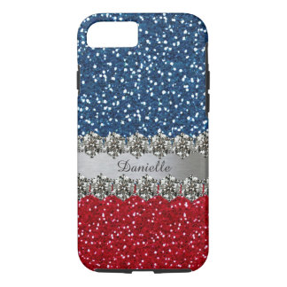 Patriotic Faux Bling Red White Blue Personalized iPhone 7 Case