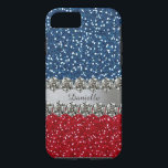 "Patriotic Faux Bling Red White Blue Personalized iPhone 8/7 Case<br><div class=""desc"">Well, technically it&#39;s red, silver, and blue, but the effect is of an American USA flag. Express your patriotism any time of year but especially around election time with this glitzy iPhone case featuring glitter and diamonds (ALL ARE PRINTED EFFECTS--THERE IS NO ACTUAL GLITTER OR GEMS ON THE CASE). Personalize...</div>"