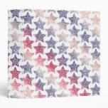 Patriotic Faux Glitter Stars 3 Ring Binder