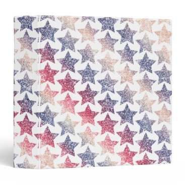 USA Themed Patriotic Faux Glitter Stars 3 Ring Binder