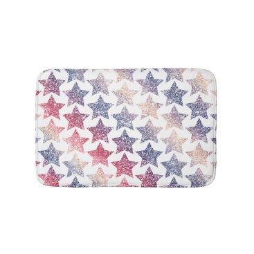 USA Themed Patriotic Faux Glitter Stars Bath Mat