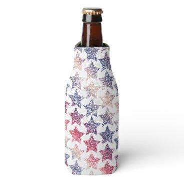 USA Themed Patriotic Faux Glitter Stars Bottle Cooler