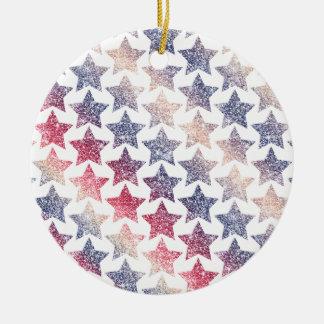 Patriotic Faux Glitter Stars Ceramic Ornament