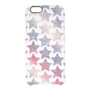 USA Themed Patriotic Faux Glitter Stars Clear iPhone 6/6S Case
