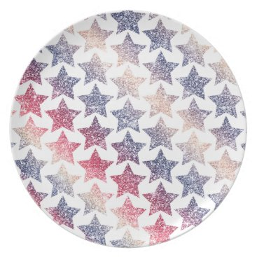 USA Themed Patriotic Faux Glitter Stars Dinner Plate