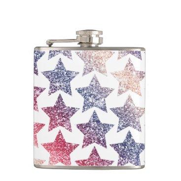 USA Themed Patriotic Faux Glitter Stars Flask
