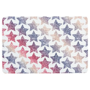 USA Themed Patriotic Faux Glitter Stars Floor Mat