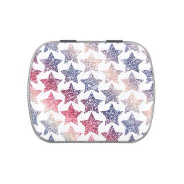 USA Themed Patriotic Faux Glitter Stars Jelly Belly Tins