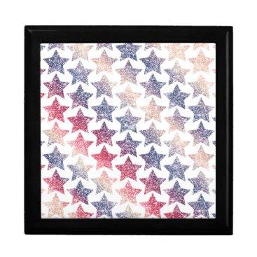 USA Themed Patriotic Faux Glitter Stars Jewelry Box
