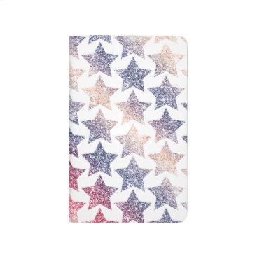 USA Themed Patriotic Faux Glitter Stars Journal