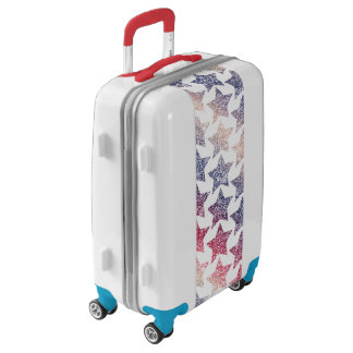 Patriotic Faux Glitter Stars Luggage