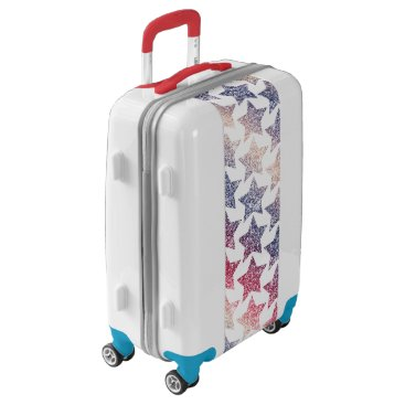 USA Themed Patriotic Faux Glitter Stars Luggage