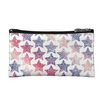 USA Themed Patriotic Faux Glitter Stars Makeup Bag