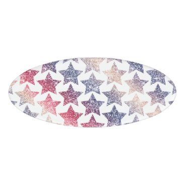 USA Themed Patriotic Faux Glitter Stars Name Tag