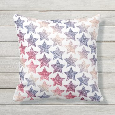 USA Themed Patriotic Faux Glitter Stars Outdoor Pillow