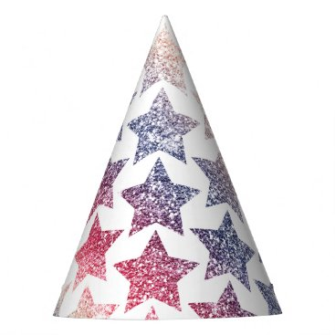 USA Themed Patriotic Faux Glitter Stars Party Hat