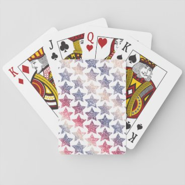 USA Themed Patriotic Faux Glitter Stars Playing Cards