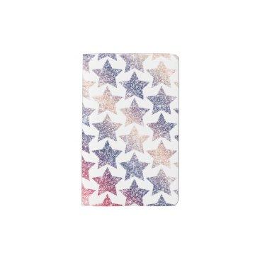 USA Themed Patriotic Faux Glitter Stars Pocket Moleskine Notebook