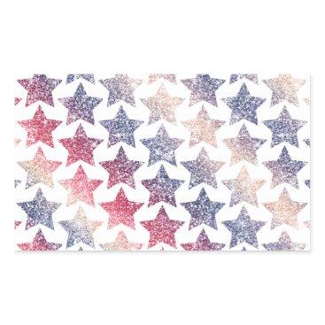 USA Themed Patriotic Faux Glitter Stars Rectangular Sticker