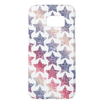 USA Themed Patriotic Faux Glitter Stars Samsung Galaxy S7 Case