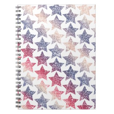 USA Themed Patriotic Faux Glitter Stars Spiral Notebook