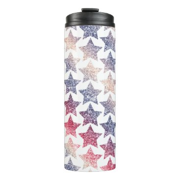 USA Themed Patriotic Faux Glitter Stars Thermal Tumbler
