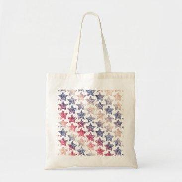 USA Themed Patriotic Faux Glitter Stars Tote Bag