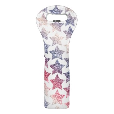 USA Themed Patriotic Faux Glitter Stars Wine Bag