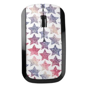 USA Themed Patriotic Faux Glitter Stars Wireless Mouse