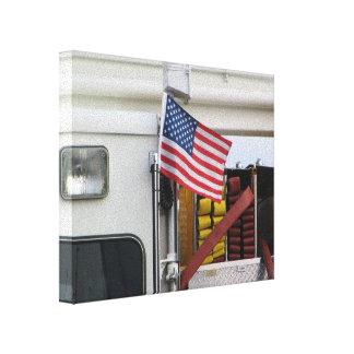 Patriotic Fire Truck Crosslays Canvas Print