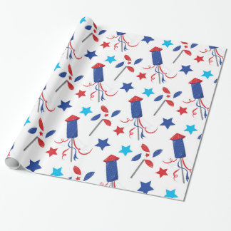 Patriotic firecrackers wrapping paper