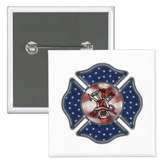 Patriotic Firefighter Maltese Button