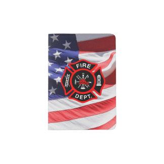 Patriotic Firefighter Maltese Cross American Flag Passport Holder