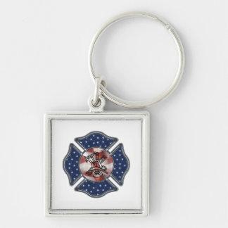 Patriotic Firefighter Maltese Key Chain