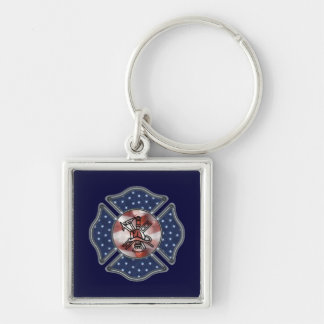 Patriotic Firefighter Maltese Keychain