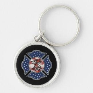 Patriotic Firefighter Maltese Key Chains
