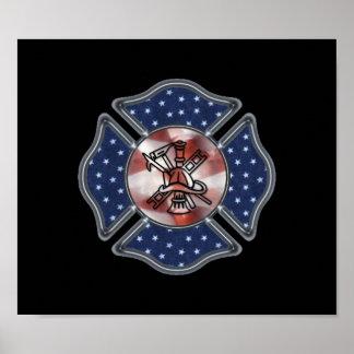 Patriotic Firefighter Poster