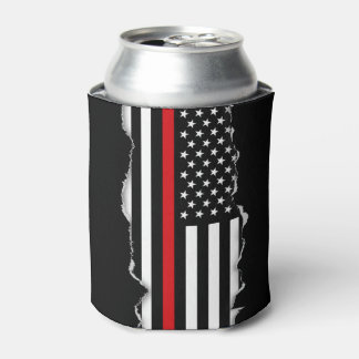 Patriotic Firefighter Style American Flag Can Cooler