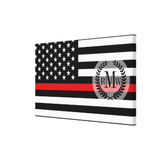 Patriotic Firefighter Style American Flag Canvas Print