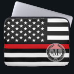 """Patriotic Firefighter Style American Flag Computer Sleeve<br><div class=""""desc"""">Celebrate the legions of male and female firefighters across America with this thin red line patriotic style firefighter flag.</div>"""